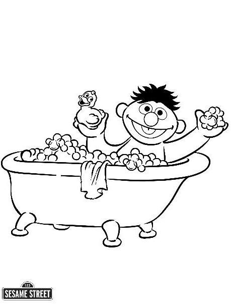 Ernie in the Bath Tub Sesame Street Coloring Page | Ernie Bday ...