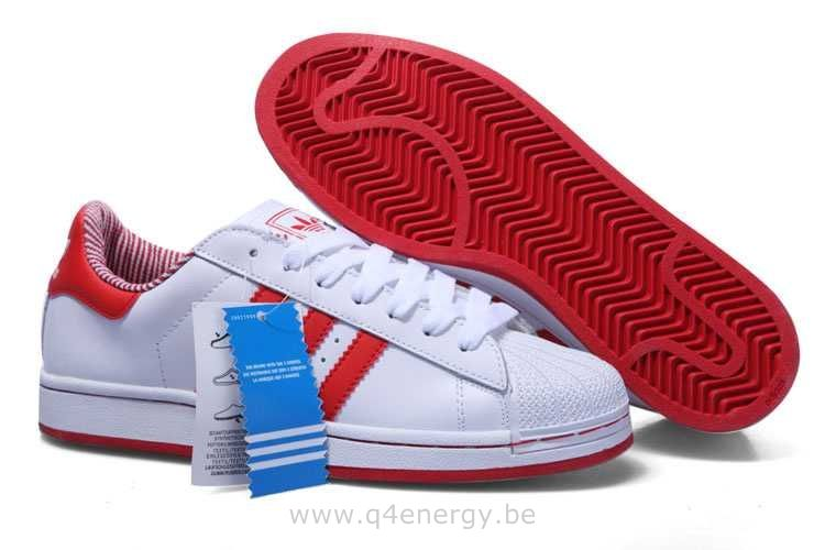 Hommes Adidas Superstar II Chaussures TRèFle Blanc Rouge