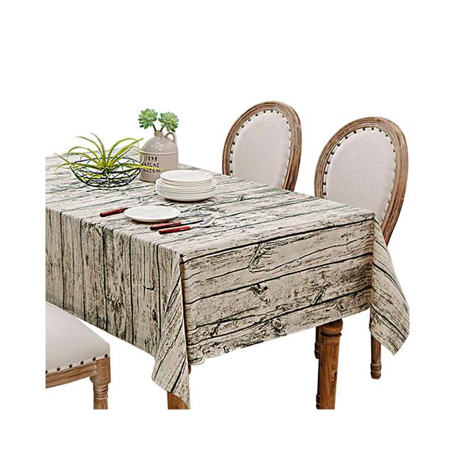 Daruite B07blxcv4n 木目調 リネン テーブルクロス 長方形 テーブル