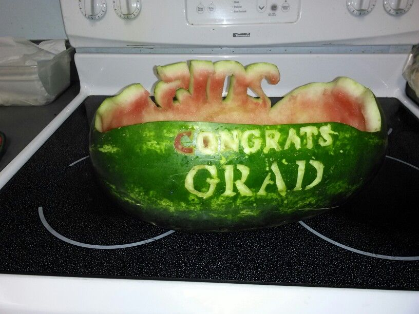 Graduation watermelon carvings | my own things I had done | Pinterest