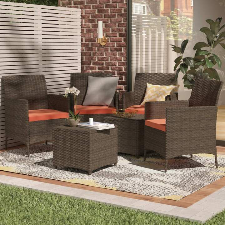 Wrought Studio Auclair Wicker Patio 6 Piece Rattan Conversation Set With Cushions In 2019 Rattan Furniture Set Outdoor Furniture Sets Fire Pit Seating