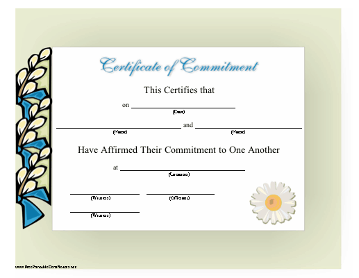 This beautiful certificate of commitment for a couples\' ceremony is ...