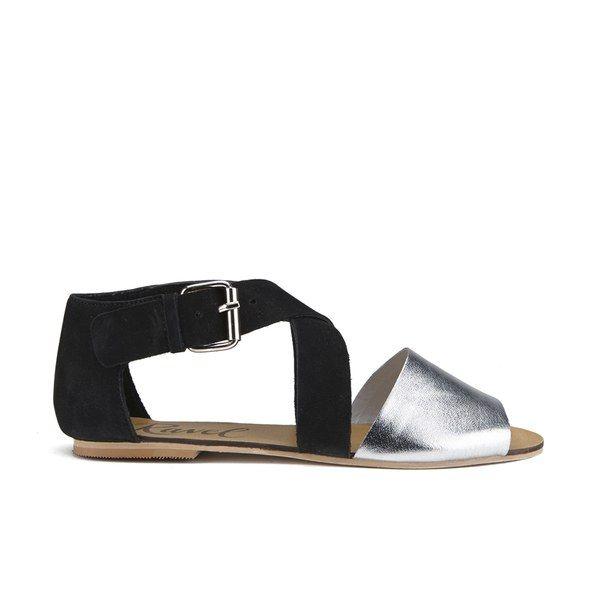 Ravel Women's Dallas Multi Strap Peep Toe Flat Sandals - Black/Silver