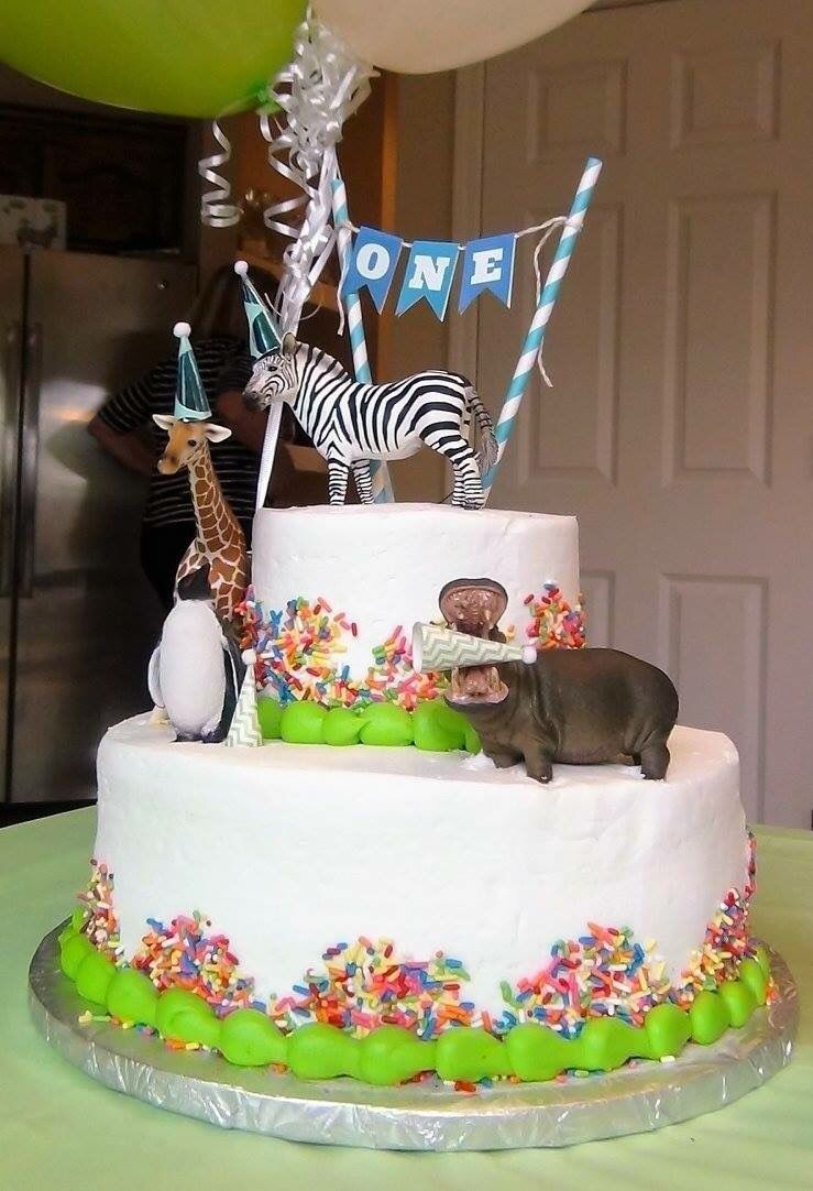 First Birthday Cake Party Animal Theme With Plastic Schleich Animals Hats Sams Club Included Sprinkles And Incing