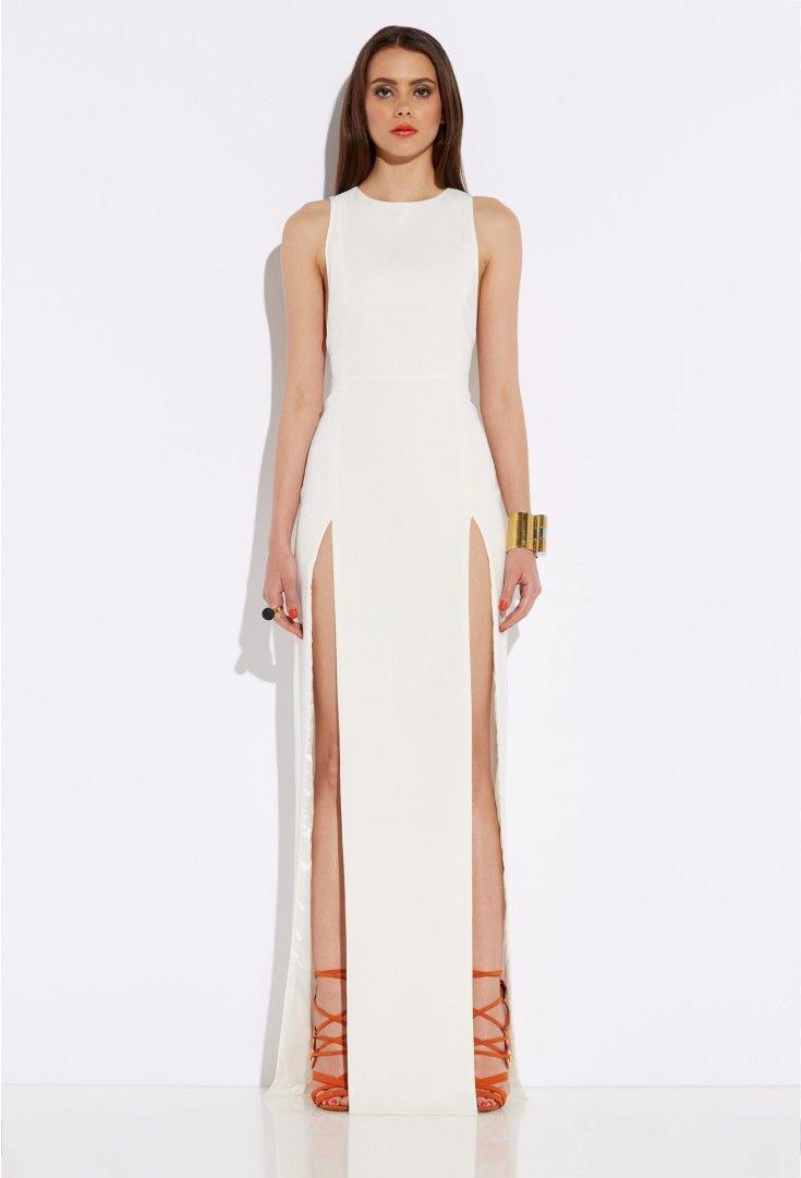 White Lexi Cream High Double Slit Maxi Dress $250 @ AQAQ | Formal ...