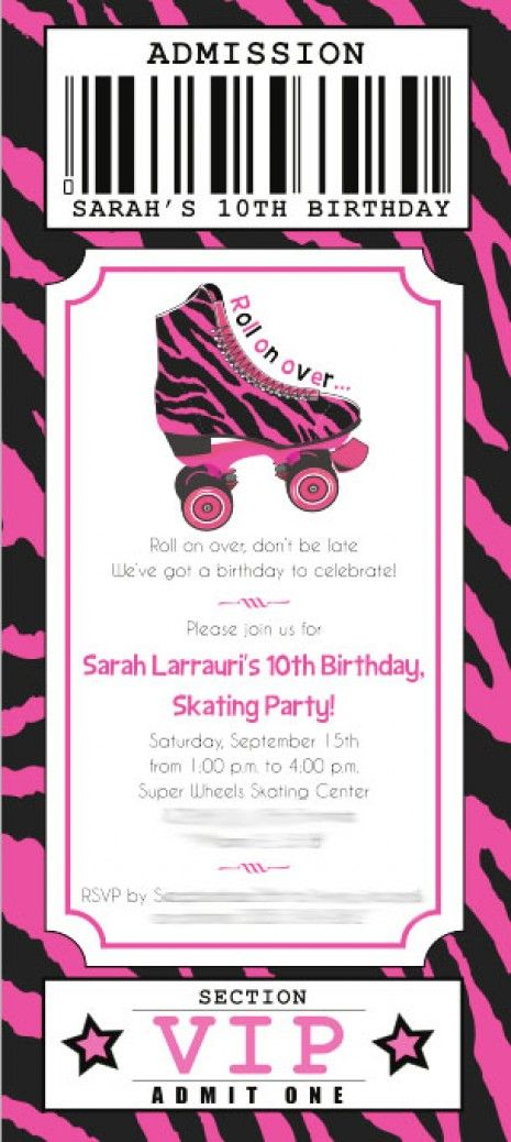 Super Wheels Rollerskating VIP Ticket Printable Invitation - Hot ...