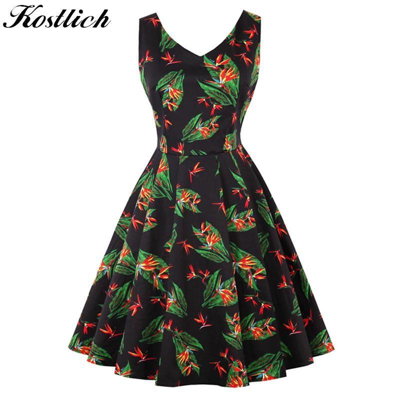 Kostlich 2018 Floral Print Vintage Dress Women V-Neck Sexy Hepburn 50s  Style Autumn Dress Big Swing Party Dresses Plus Size 4XL. f18ca487f109