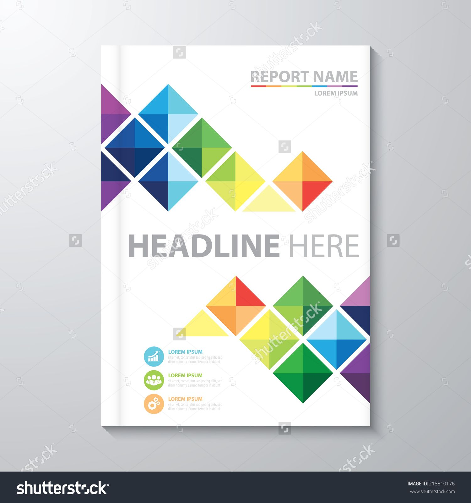 Creative Book Report Covers : Abstract colorful triangle background cover design