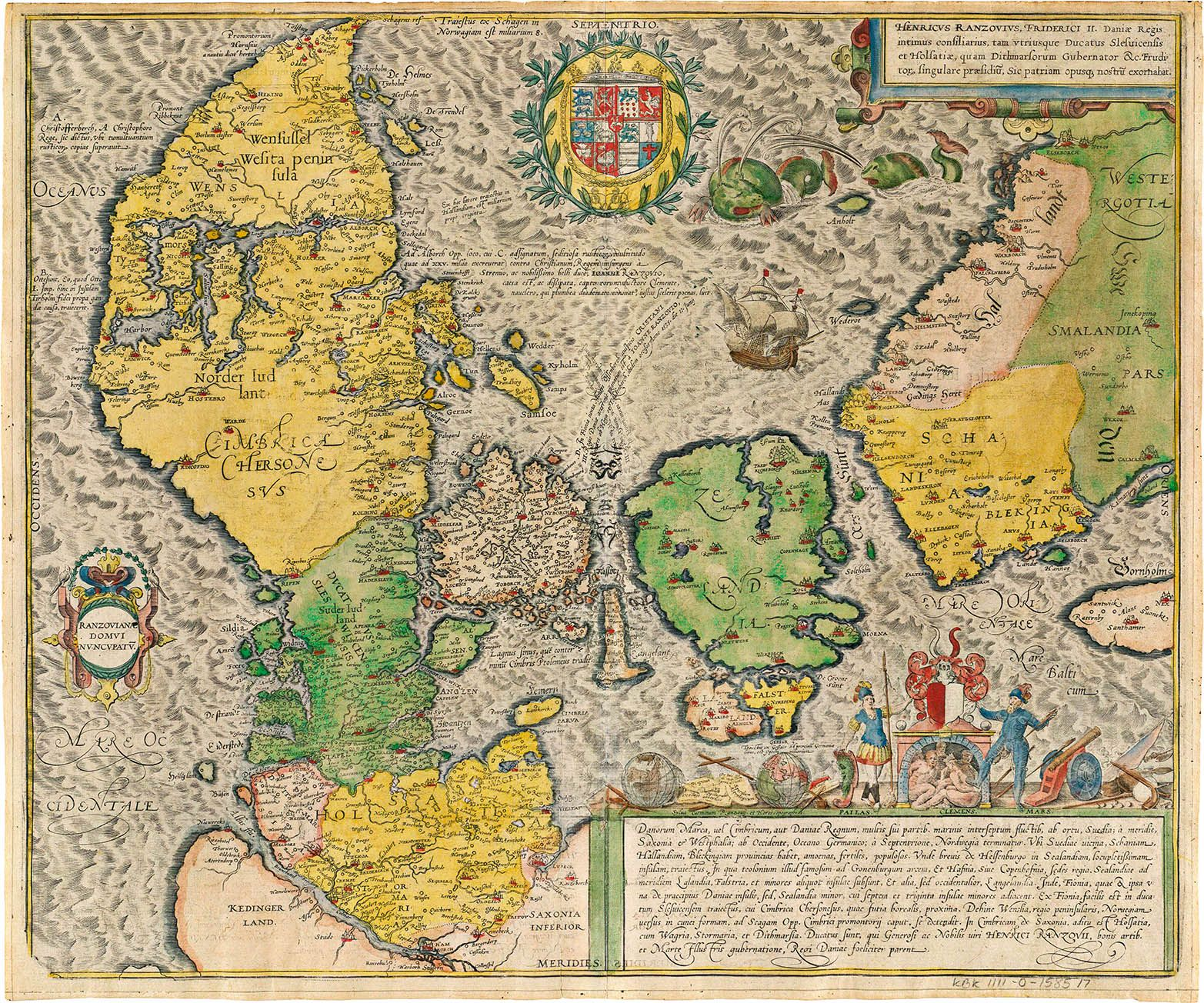 Ancient Map of Denmark Cimbricae Chersonesi Jordan
