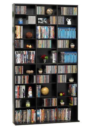 Media Storage Shelf Tower Tall Shelves CD DVD Bluray Organizer Adjustable Cubby MediaShelf Contemporary