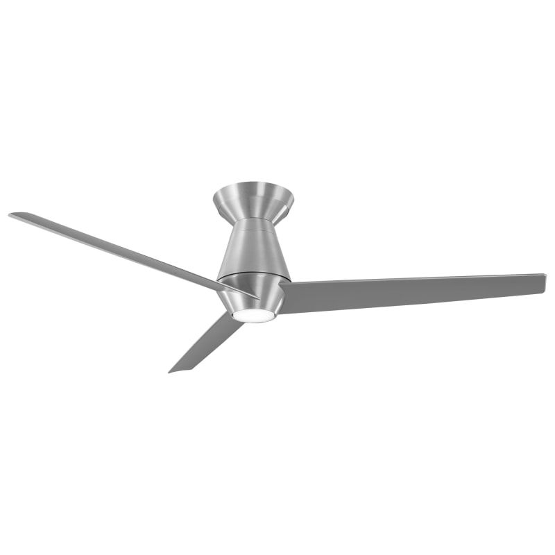 "Modern Forms FH-W2003-52L-35-BA Brushed Aluminum / 3500K Slim 52"" 3 Blade Indoor / Outdoor Smart LED Ceiling Fan with Remote Control Included - Hugger Variant"