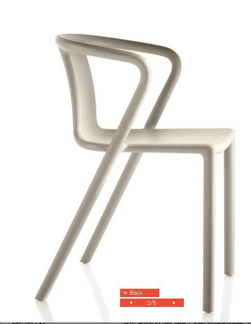 silla magis    Air Arm chair  Es como una reinvención, basada en la silla Silla Wishbone, Hans J. Wegner, Hansen, 1950  Pero en poliproplieno, y simplificada, uqe tiene respaldo continuo en vez de  la separacion de atrás
