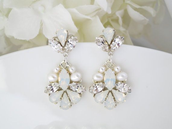 Élégant Femmes Lady Parti Pear White Topaz Crystal Gold Filled Dangle Earrings