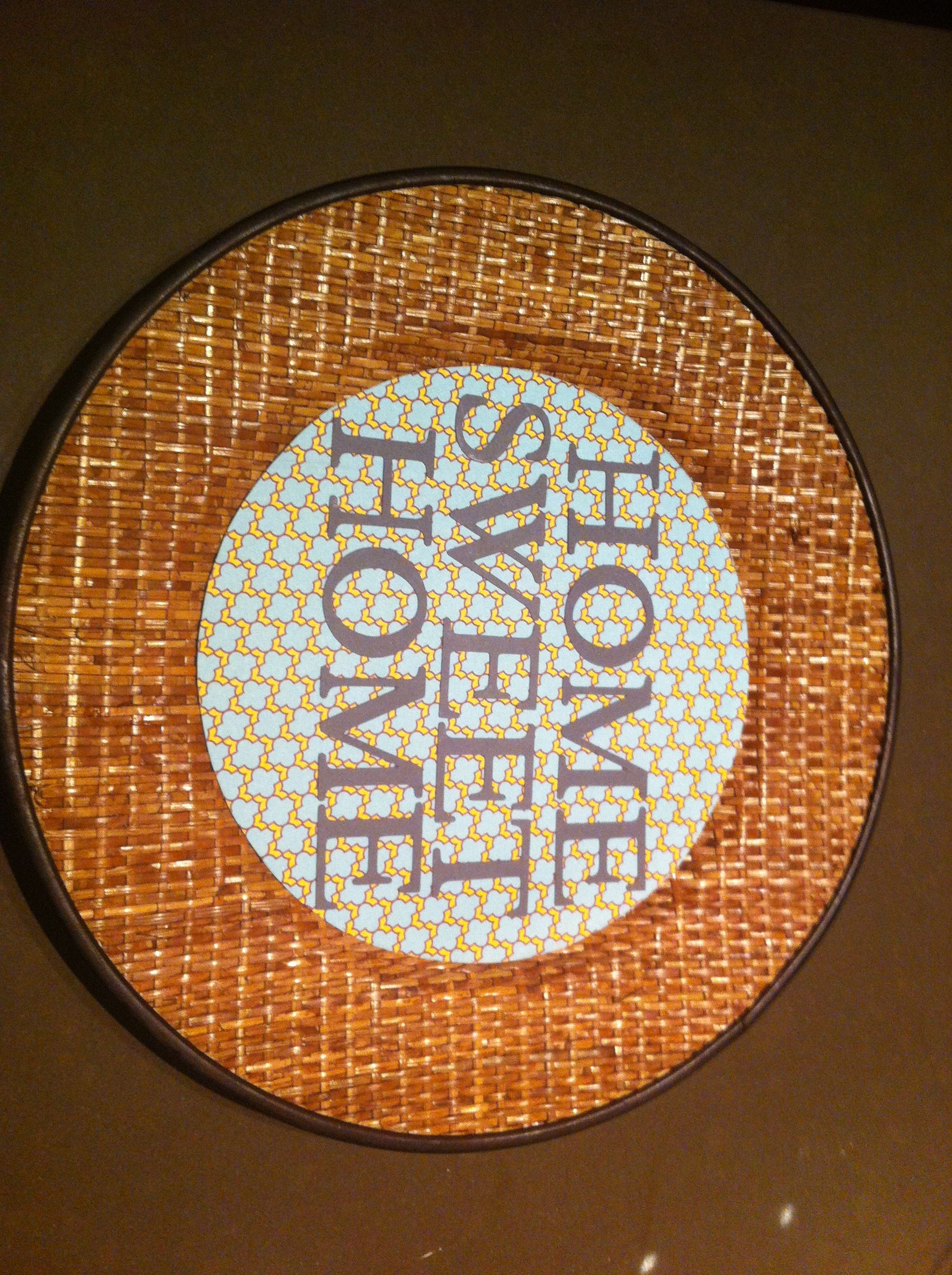 Charger plate with Cricut letters. Perfect house warming present! $3 in supplies.