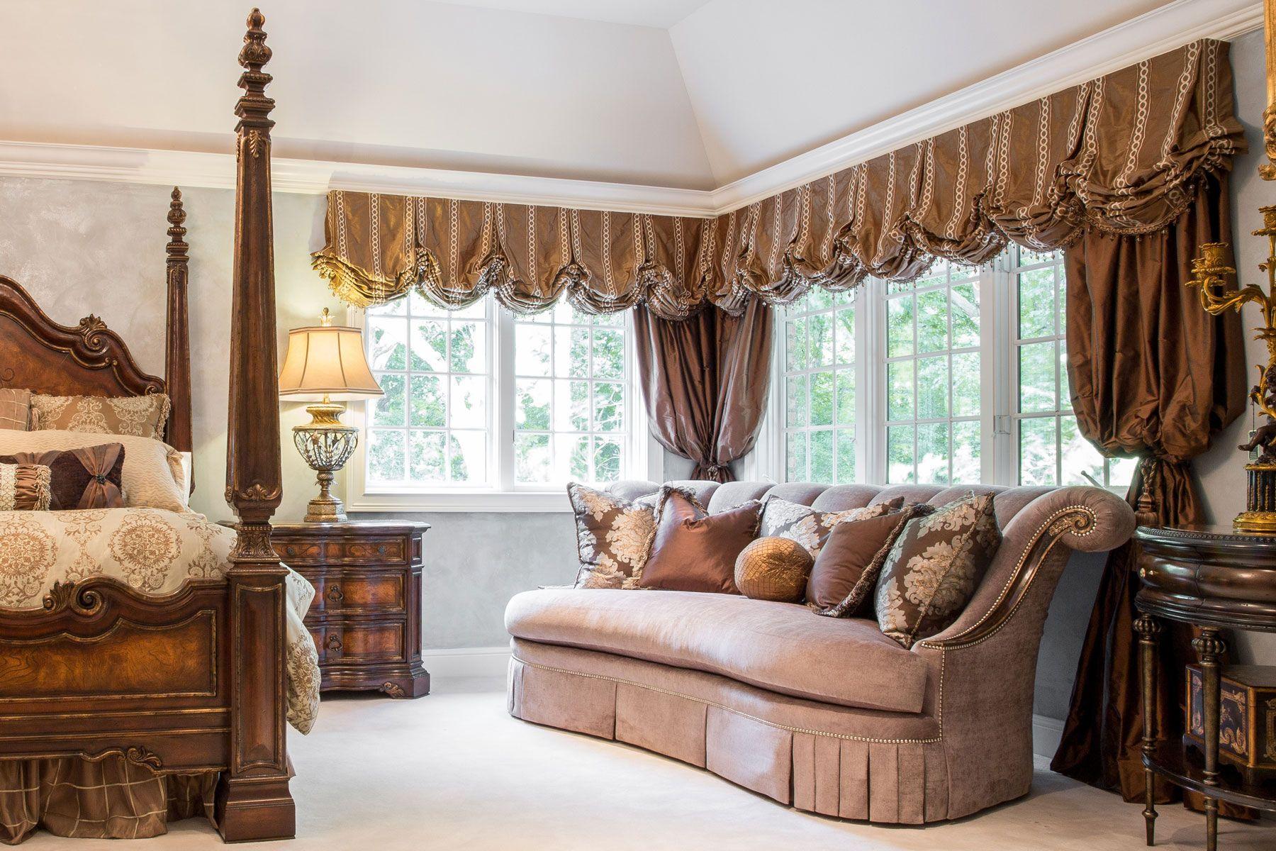 Window decor for bedroom  custom window treatments in master bedroom  window treatments