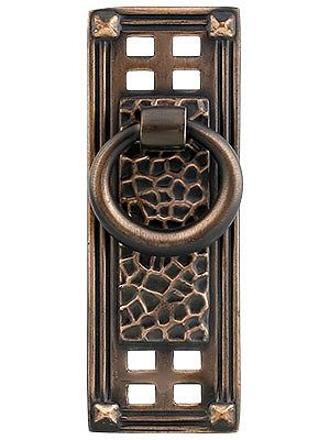 Cabinet ring pulls arts crafts vertical ring pull in for Craftsman style kitchen hardware