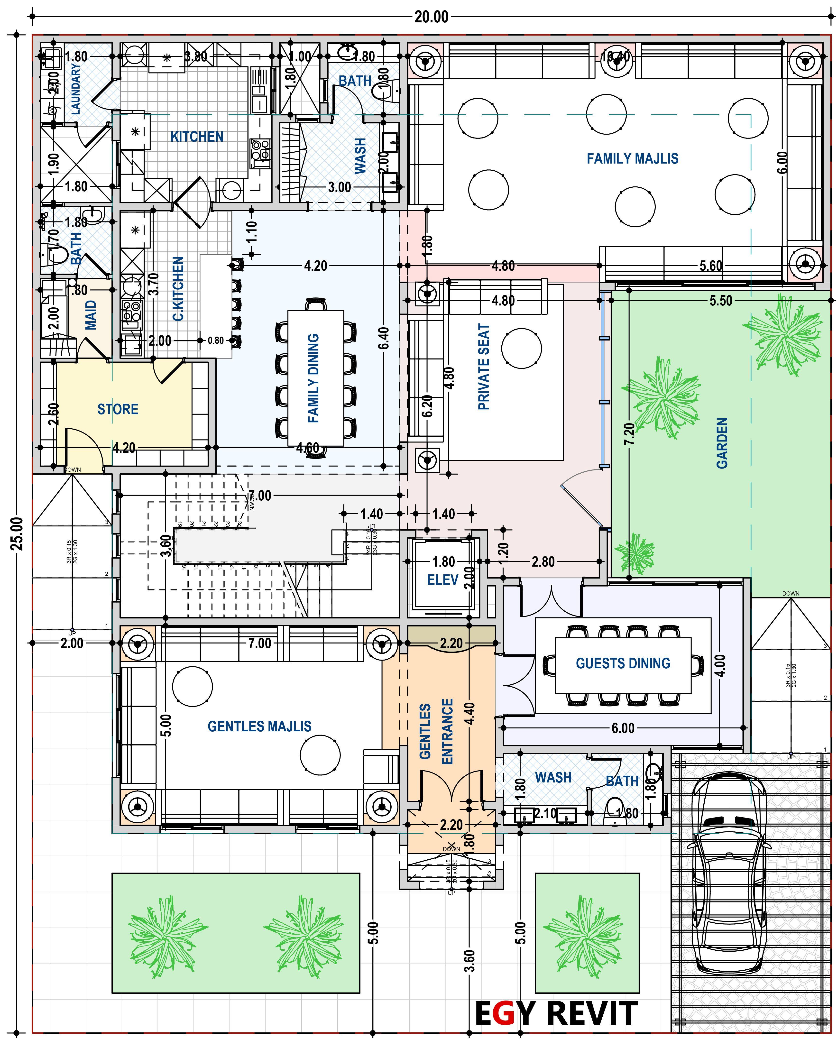 تصميم فيلا مع حديقة جانبيه ايجي ريفيت Family House Plans New House Plans Square House Plans