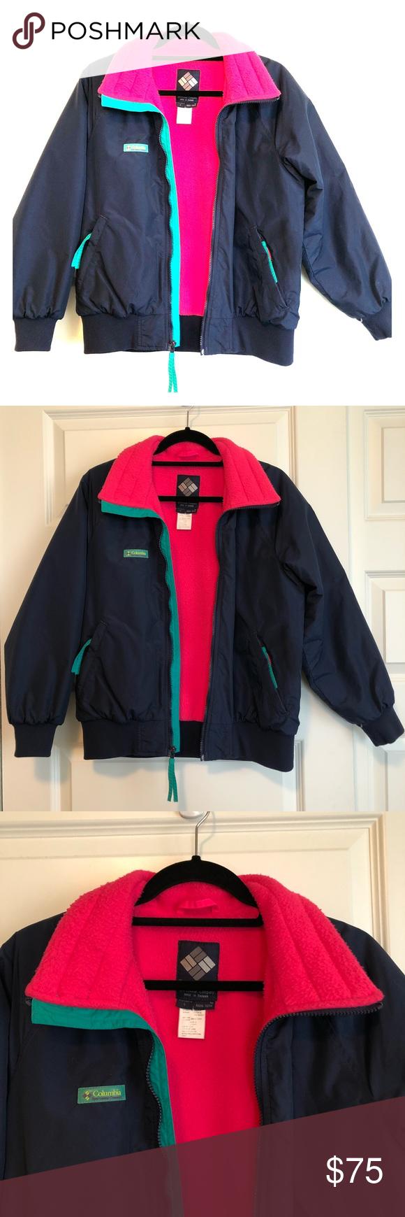 Vintage us us columbia jacket medium pink teal navy bodies