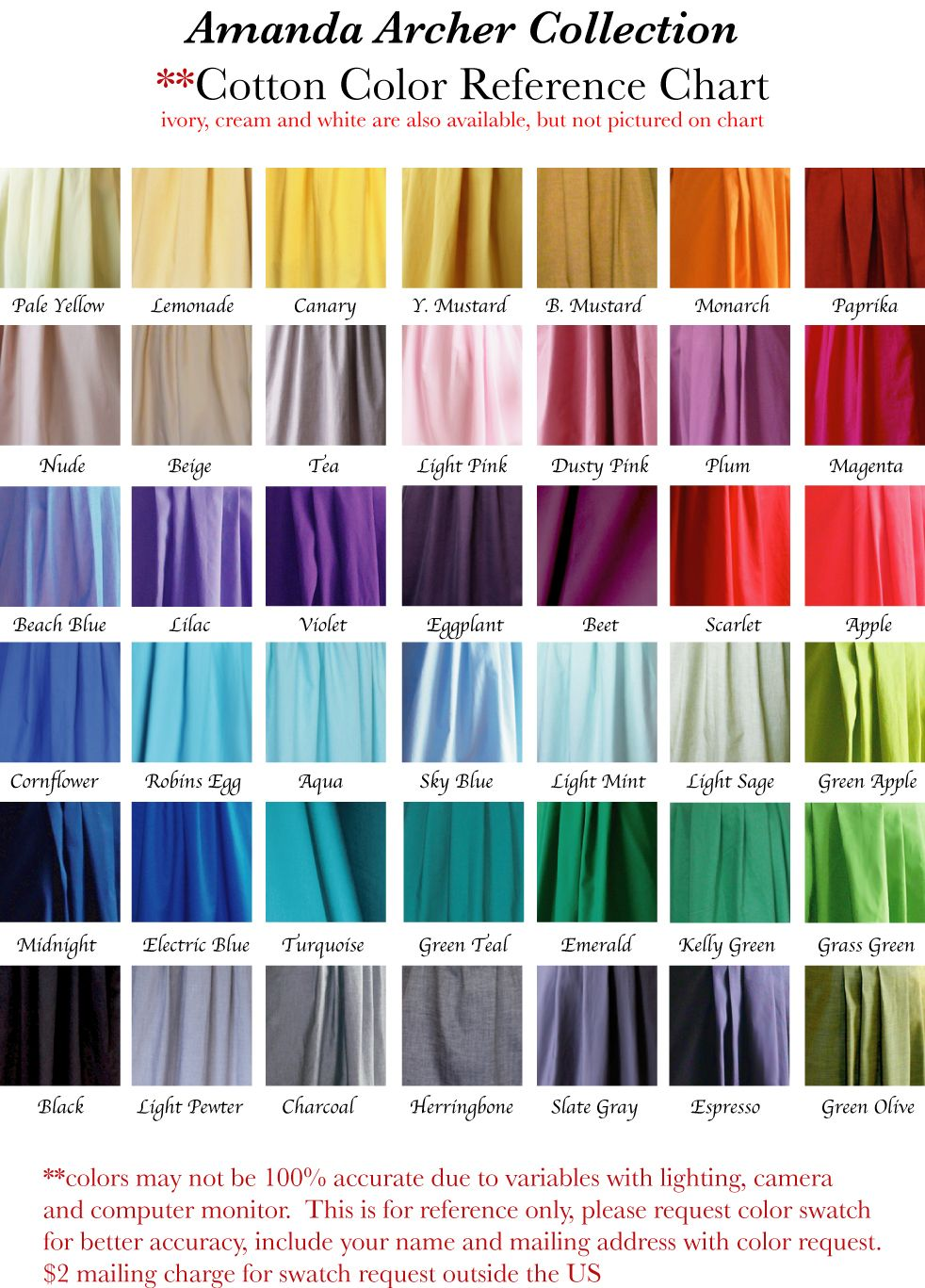 Cotton color reference chart for the one day and what fallows amanda archer on etsy makes bridesmaid dresses 12 styles and 40 colors ombrellifo Images