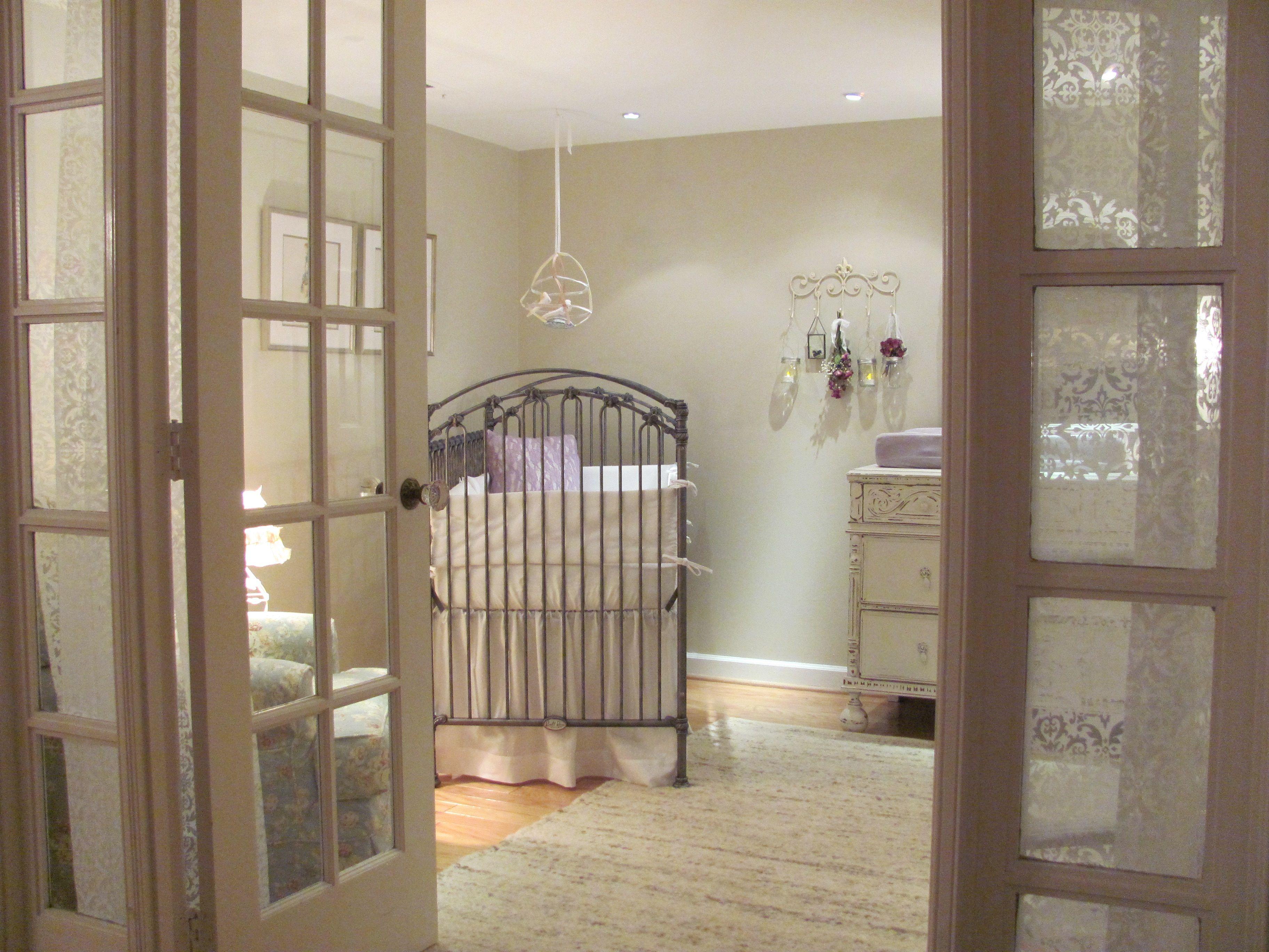 Neutral Nursery With Pewter Crib Bratt Decor Venetian