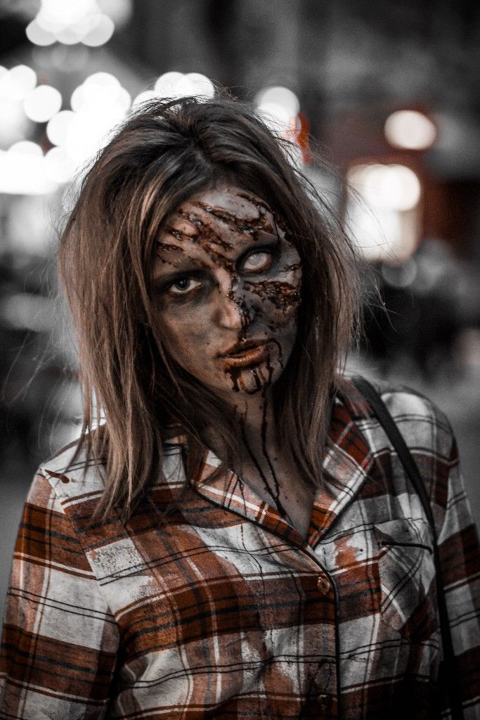 zombie girl with face ripped off photography featuring
