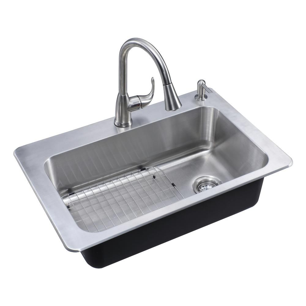 Glacier Bay All In One Dual Mount Stainless Steel 33 In 2 Hole Single Bowl Kitche Single Bowl Kitchen Sink Stainless Steel Kitchen Sink Kitchen Sinks For Sale