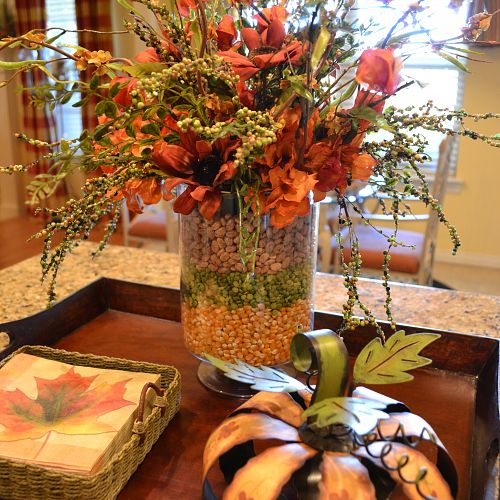 Kitchen Decor For Fall: Layered Corn, Peas, And Bean Arrangement On My Kitchen Island