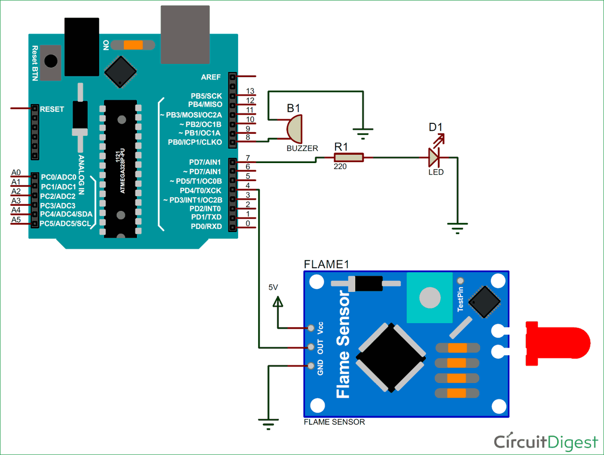 Circuit Diagram For Flame Sensor Interfacing With Arduino Alarm System