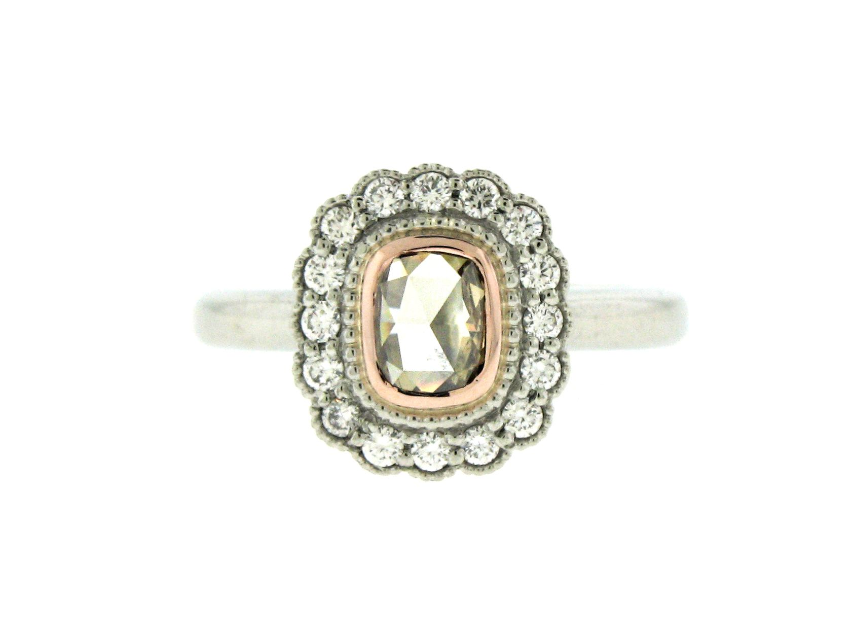 Modern vintage collection k white and rose gold diamond engagement