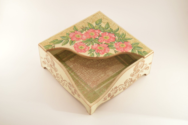 Rose bush napkin holder, napkin box, decoupage napkin holder