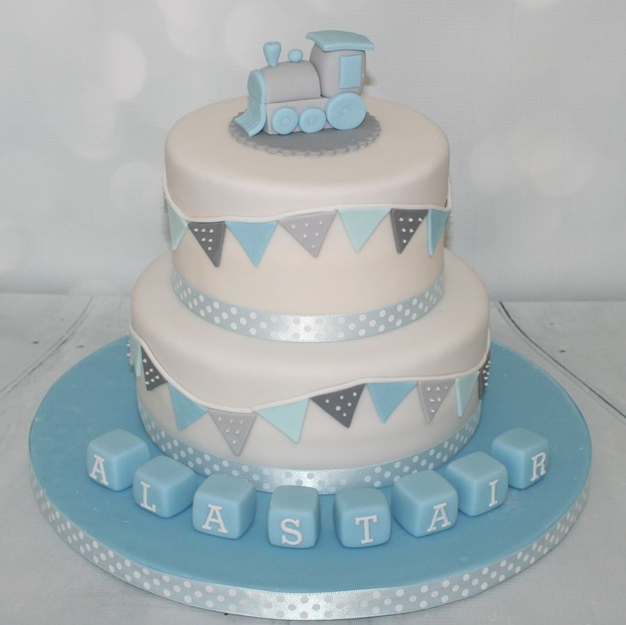 Baby Blue Cake With Bunting Christening
