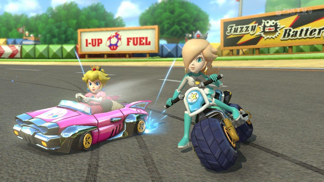 Peach And Rosalina Racing Together At Gba Mario Circuit Kart Wii Luigi