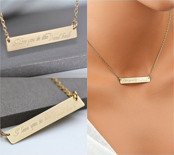 Bar Necklace Custom Bar Necklace Personalized Necklace Name Etsy In 2020 Engraved Bar Necklace Custom Bar Necklace Bar Necklace Rose Gold
