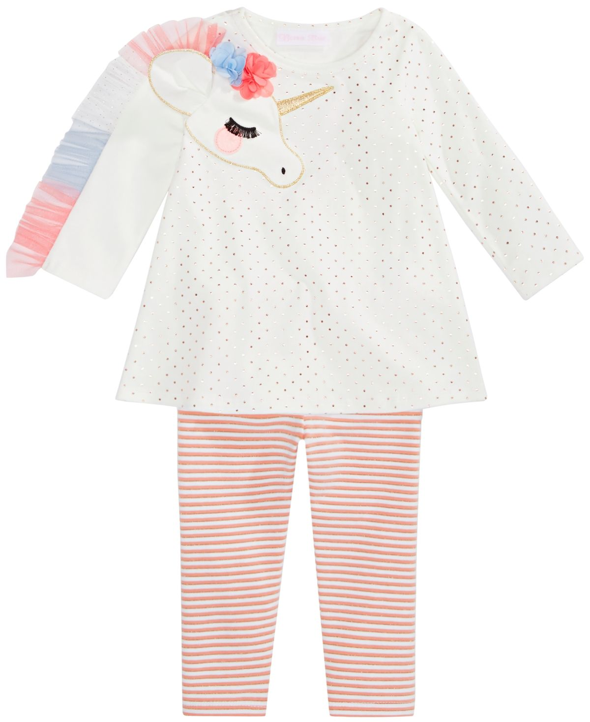 Baby Girls Unicorn Tunic & Striped Leggings Set #stripedleggings
