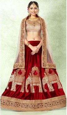 b5277a4fd9 Maroon Color Velvet Circular Style Party Wear Lehenga Choli | FH514078222 # heenastyle, #designer