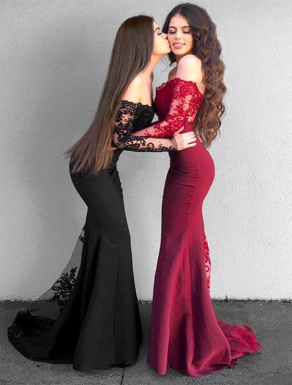 Delicate offtheshoulder long sleeve prom dress mermaid prom