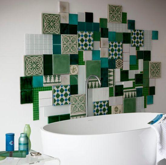 Ceramic tile combination for bathroom backplash FLOOR TILES