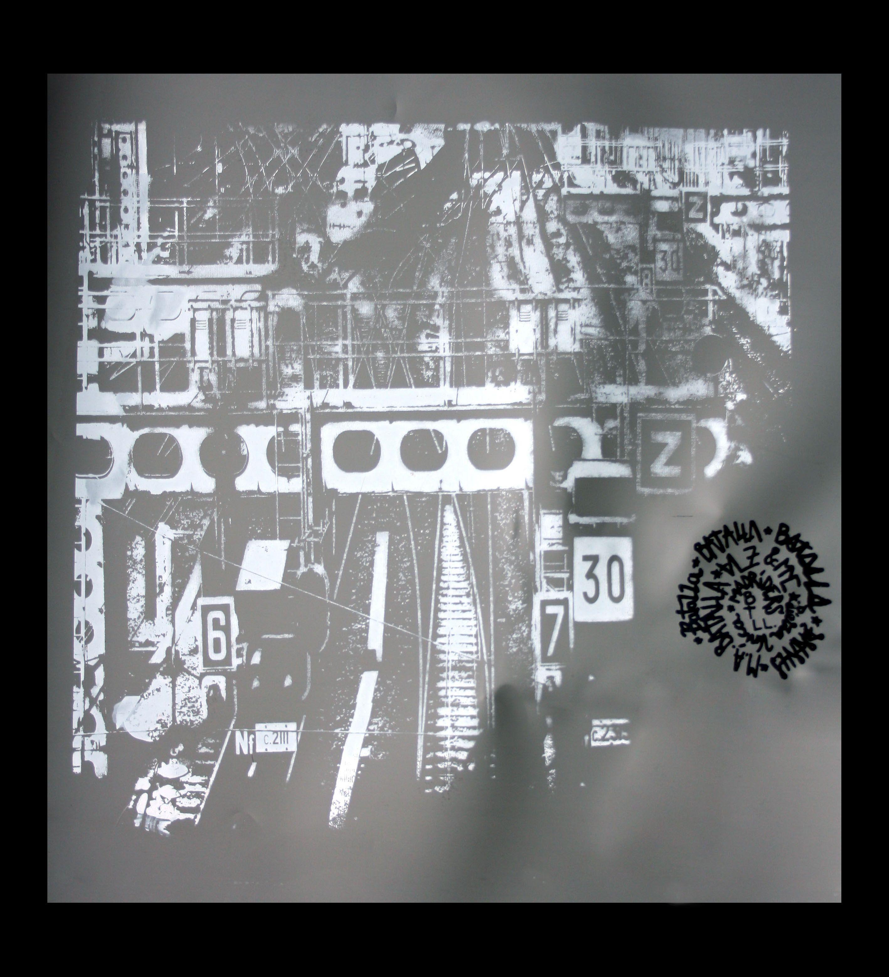 GARE DU NORD II Serigrafia en dos colores sobre papel plastico reutilizado (Batalla) 40x40 pieza unica