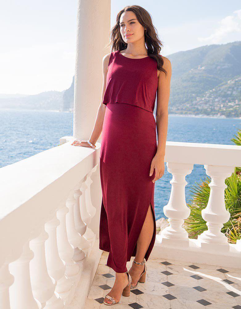 1e66e38b5c045 Burgundy Maternity & Nursing Maxi Dress in 2019   Maternity/Nursing ...