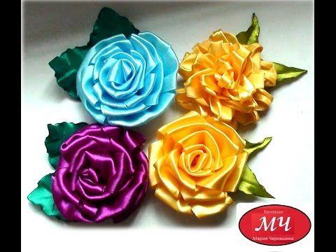 МК цветы на линейке из атласной ленты. DIY Ribbon flower #ribbonflower