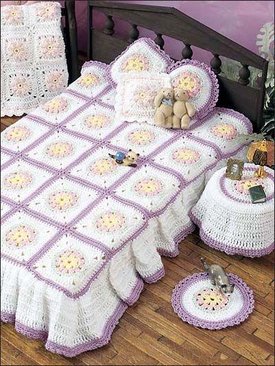 Floral Bedroom Motif free fashion doll crochet pattern