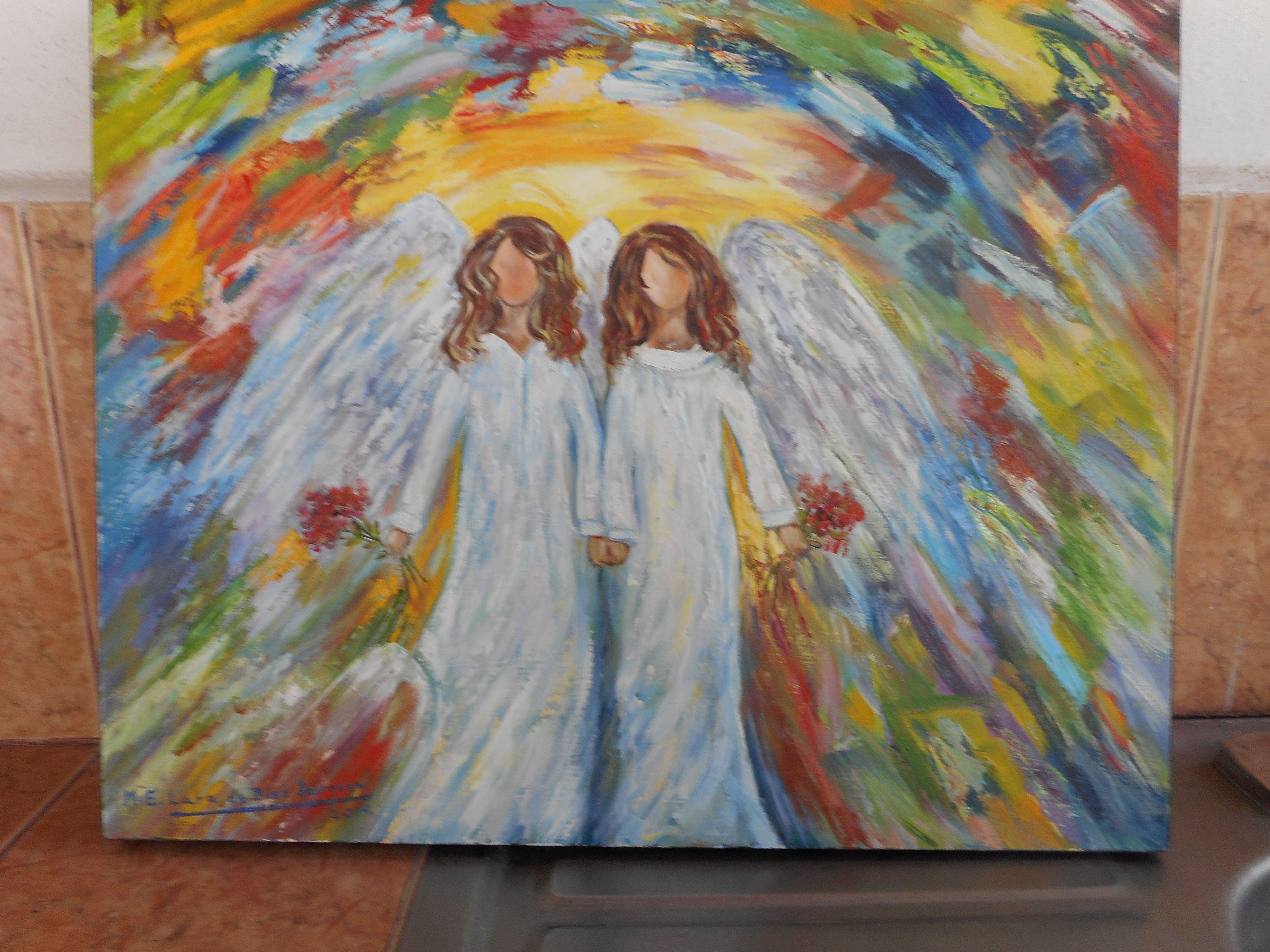 Pareja de angelitos acrilico y oleo sobre madera a - Cuadros de parejas ...
