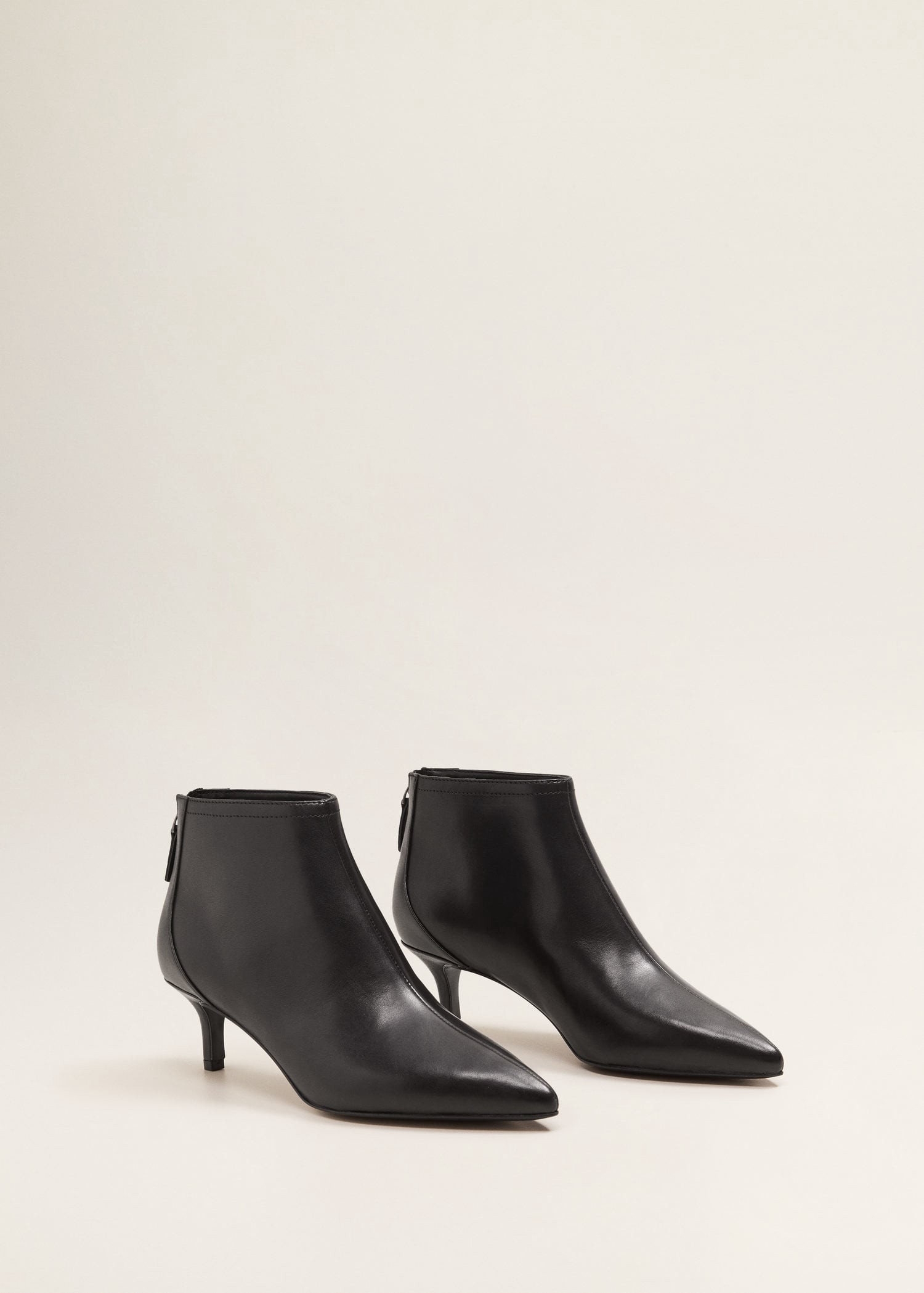 52b7e24b65b Mango Midi Heel Leather Ankle Boot - 5   Products   Kitten heel ...