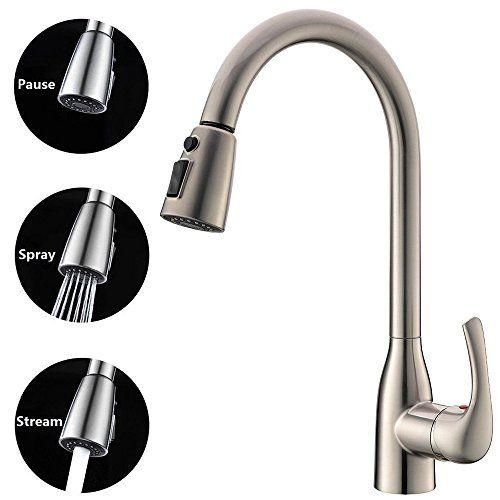 KINGO HOME Modern Brushed Nickel High Arch Pull Down Single Handle ...