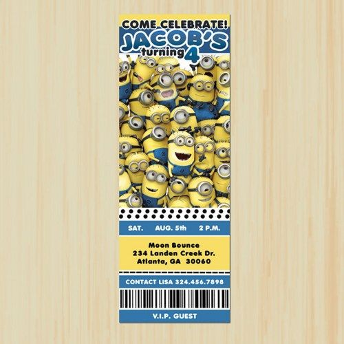 Minions Birthday Invitation Ticket, Printable DIY Birthday - invitation ticket