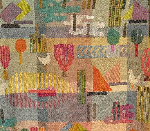 "Greta Stolzl.  Wall hanging, ""See"" (detail),   1952,  100x180cm.  Semi gobelin technique."