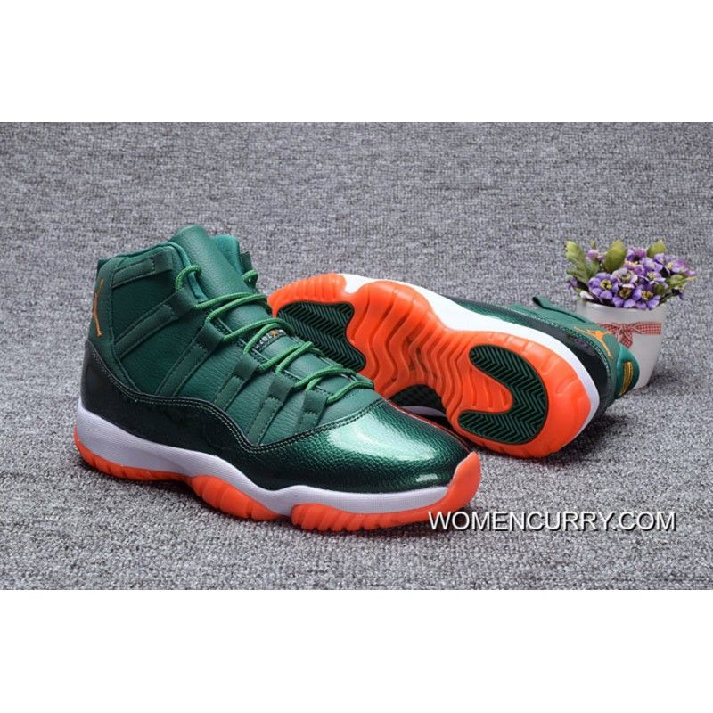 "79a81773f85fcf Miami Hurricanes"" Air Jordan 11 PE Green – White Orange Copuon Code ..."