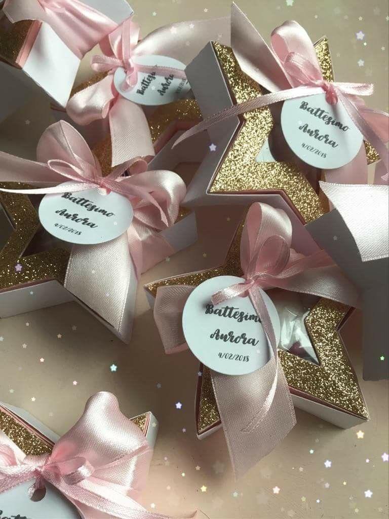 Battesimo Scatoline Porta Confetti Stelle Oro Rosa Baby Bomboniere Compleanno Rosa Scatoline Per Bomboniere