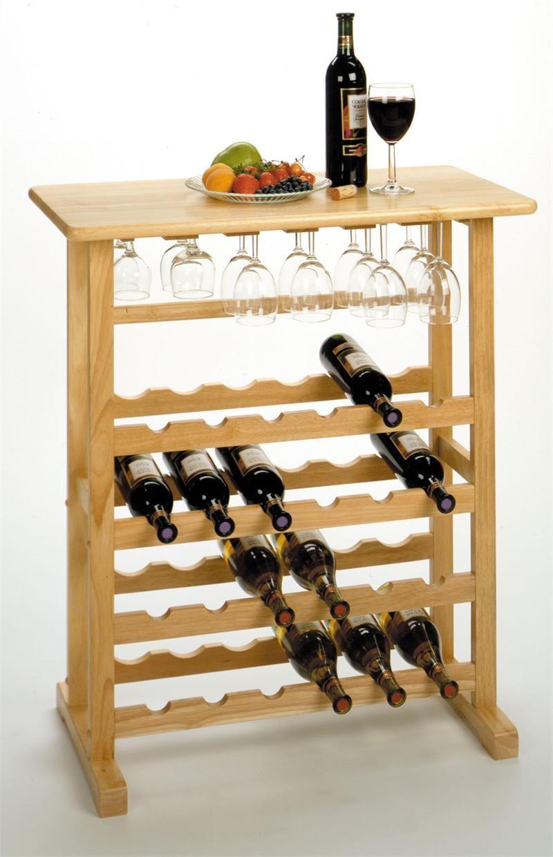 Freestanding Wine Rack W Goblet Holder Wine Rack