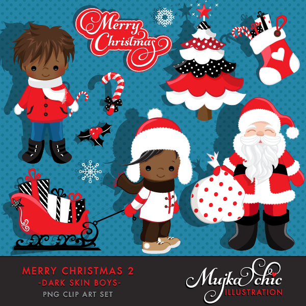 Merry Christmas Clipart African American Boys 2 Clipart Instant ...